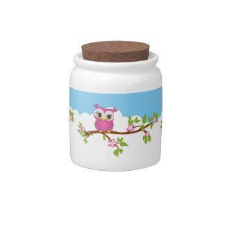 Cute Owl Girl on a Branch Candy Jar