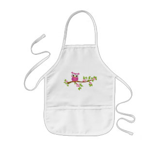 Cute Owl Girl on a Branch Kids Apron