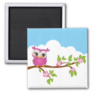 Cute Owl Girl on a Branch Magnet