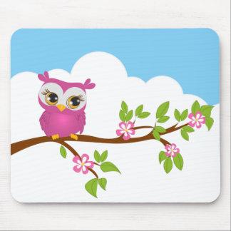 Cute Owl Girl on a Branch Mousepad