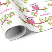 Cute Owl Girl on a Branch Name Wrapping Paper
