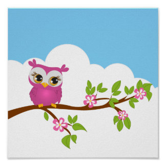 Cute Owl Girl on a Branch Poster