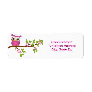 Cute Owl Girl on a Branch Return Address Return Address Labels
