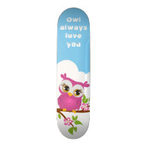 Cute Owl Girl on a Branch Skateboard