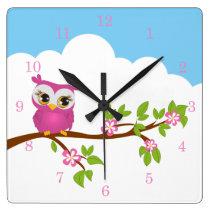 Cute Owl Girl on a Branch Wall Clocks