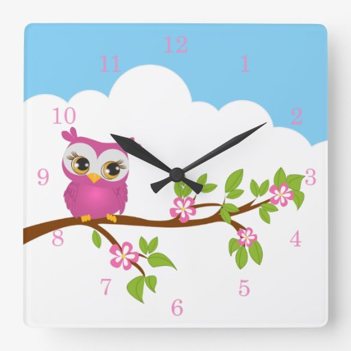 Cute Owl Girl on a Branch Wall Clocks Square Wall Clocks