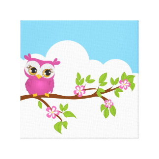 Cute Owl Girl on a Branch Wrapped Canvas