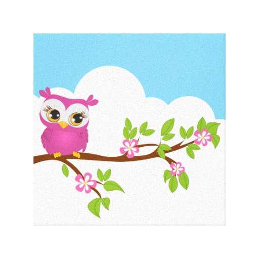 Cute Owl Girl on a Branch Wrapped Canvas Canvas Prints