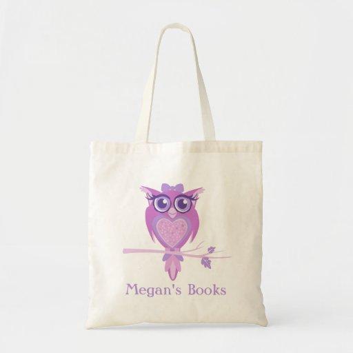 Cute owl girls purple library bag
