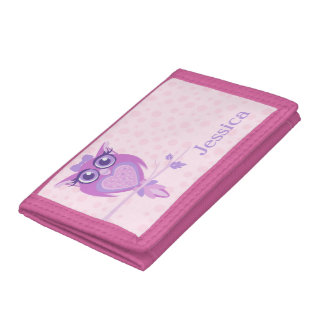 Cute owl girls purple pink add your name tri-fold wallets