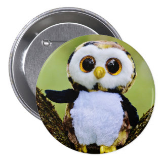 Cute Owl Glitter Large, 3 Inch Round Button