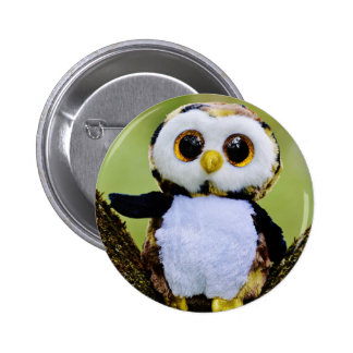 Cute Owl Glitter Pinback Button
