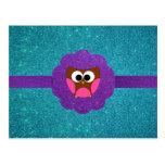 Cute Owl glitter Postcard