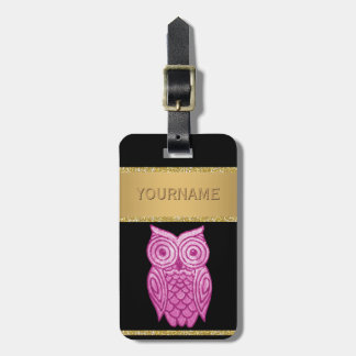 Cute Owl Gold Glitter Pink Sequins Personalized Bag Tag