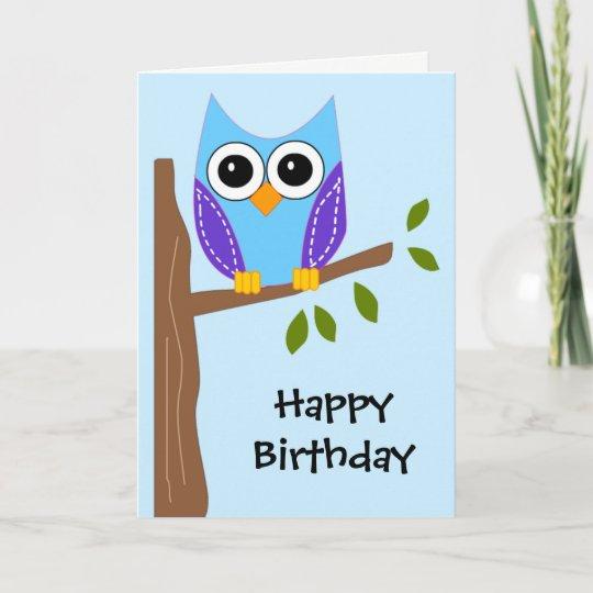 Cute Owl Happy Birthday Card Zazzle