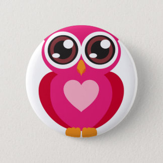 Cute owl heart button