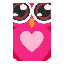 Cute owl heart stationery