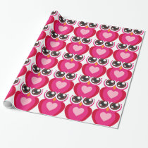 Cute owl heart wrapping paper