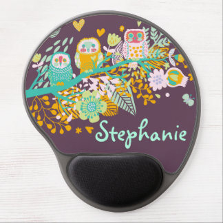 Cute Owl Hearts & Flowers Floral Gel Mouse Pad
