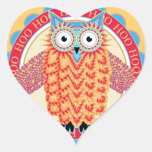 Cute Owl Hoo Hoo Bird Lover's Colorful Heart Sticker