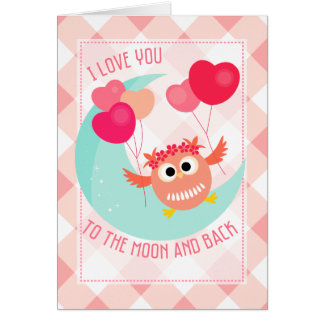 Cute Owl I love You To The Moon and Back Valentine Card