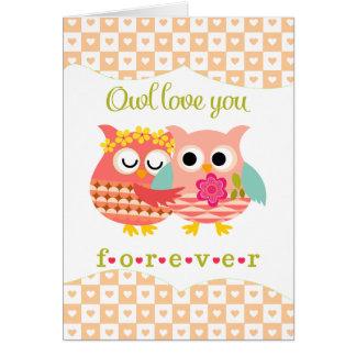 Cute Owl I'll love You Forever Valentine's Day Card