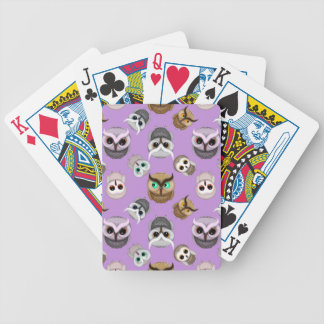 Cute Owl Illustration Pattern on Purple Background Bicycle Playing Cards