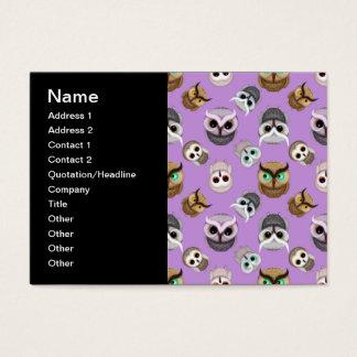 Cute Owl Illustration Pattern on Purple Background Business Card
