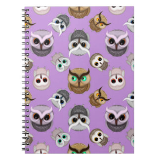Cute Owl Illustration Pattern on Purple Background Spiral Notebook