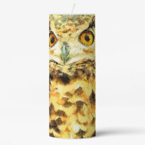 Cute Owl Illustration Pillar Candle