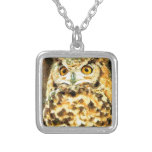Cute Owl Illustration Silver Plated Necklace