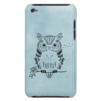 Cute Owl Illustration Watercolor Background Barely There iPod Cover