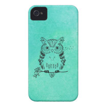 Cute Owl Illustration Watercolor Background iPhone 4 Case