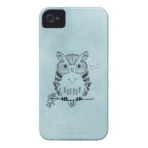 Cute Owl Illustration Watercolor Background iPhone 4 Cover