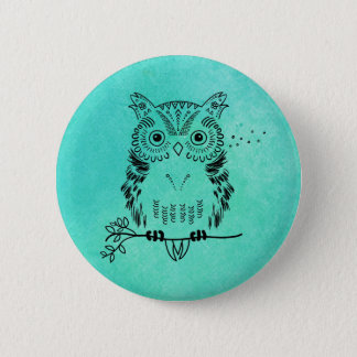Cute Owl Illustration Watercolor Background Pinback Button