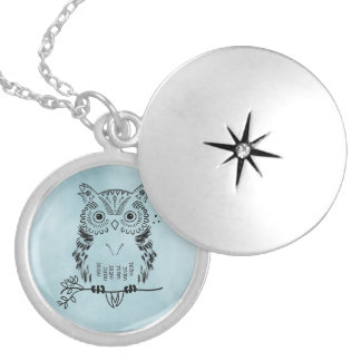 Cute Owl Illustration Watercolor Background Round Locket Necklace