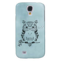 Cute Owl Illustration Watercolor Background Samsung Galaxy S4 Case