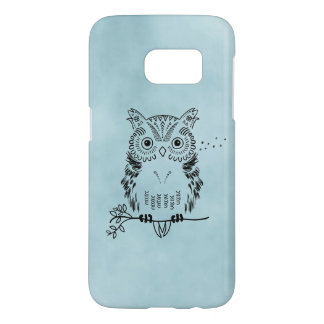 Cute Owl Illustration Watercolor Background Samsung Galaxy S7 Case
