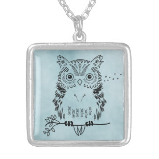 Cute Owl Illustration Watercolor Background Silver Plated Necklace