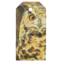 Cute Owl Illustration Wooden Gift Tags