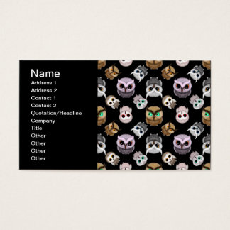 Cute Owl Illustrations over Black Background Business Card