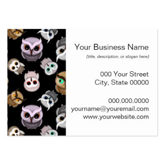 Cute Owl Illustrations over Black Background Large Business Cards (Pack Of 100)