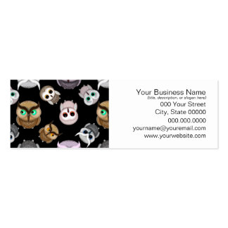 Cute Owl Illustrations over Black Background Mini Business Card