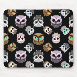 Cute Owl Illustrations over Black Background Mouse Pad