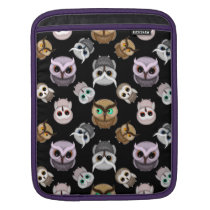 Cute Owl Illustrations over Black Background Sleeve For iPads