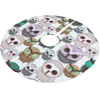 Cute Owl Illustrations Pattern Brushed Polyester Tree Skirt