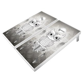 Cute owl in black and white, mandala design cornhole set