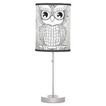 Cute owl in black and white, mandala design desk lamp