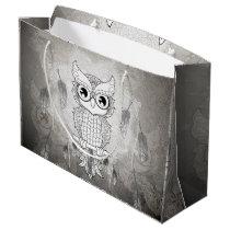 Cute owl in black and white, mandala design large gift bag
