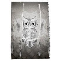 Cute owl in black and white, mandala design medium gift bag
